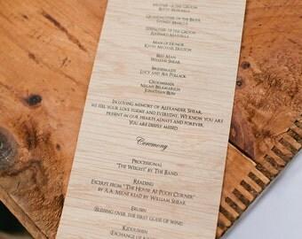 Rustic wedding program, real wood wedding, rustic program, rustic ceremony program, wood program, rustic wedding decor, barn wedding