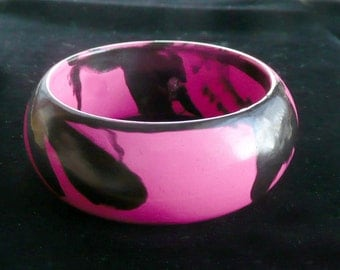 Pink & Black Bangle Bracelet Wide Retro Dramatic