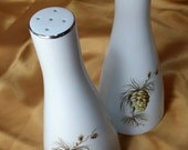 Mid Century Pine Cone / Tree Salt & Pepper Shakers with Silver Trim, Made in England Retro Funky Fun Christmas