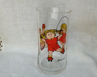 Vintage 1984 Cabbage Patch Kids Glass Cup Promotional Boy Girl Doll OAA *eb