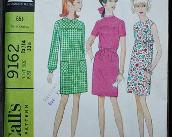 McCall 9162  1960s 60s Sheath Dress with Yoke Mod Sleeveless Long Short Sleeve Mini Vintage Sewing Pattern Size 13/14 Bust 33.5