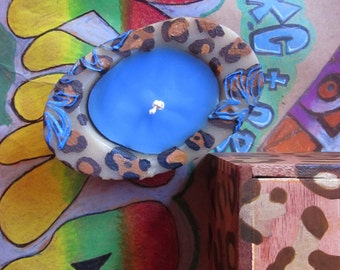 Leopard Pattern Beeswax / palmwax Candle with Hand Painted Limited Edition Recycled Gift Box, Brown Gold and Blue Colors