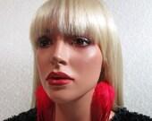 Red Feather Earrings, Gold Plated Hardwear, Boho Chic Feather Earrings, Real Feather Earrings