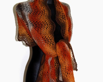 Rectangular Shawl, Wool Shawl, Hand Knit Lace Shawl in Shades of Brown, Hand Knit Scarf in Autumn Colors
