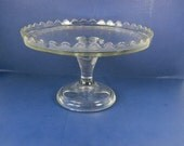 Vintage EAPG CAKE STAND Glass Salver Scallop Rim Donut Pastry Display