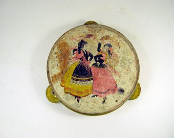 Vintage RUSTIC TOY TAMBOURINE Kirchhof Tin Tamborine Flamenco Dancers Childs Display