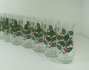 Vintage HOLLY TUMBLERS Set/6 Holiday Christmas BARWARE Water Indiana Glass