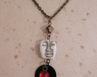 OOAK Moon Face Bead Pendant Charm Necklace Wearable Art Statement Necklace with Upcycled Jewelry Components