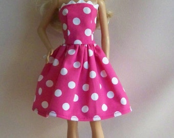 Handmade Barbie Doll Clothes-Bright Pink with White Dots Cotton Print Barbie Dress