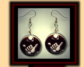 Hitchhikers Guide to the Galaxy fan tribute Altered Art Dangle Earrings with Rhinestone
