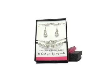 Bridesmaid Gift Bridesmaid Necklace Bracelet & Earring Set Bridesmaid Jewelry Set Bridesmaid Jewelry Pearl Necklace Bracelet Pearl Earrings