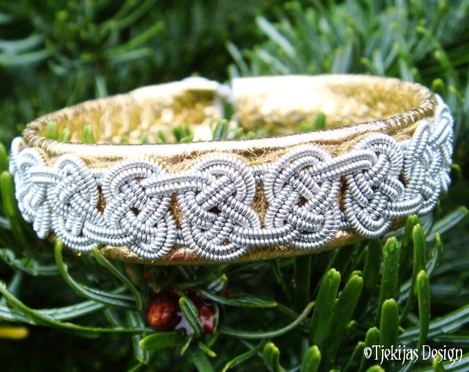 Celtic Gold Leather Bracelet VIKING Swedish Sami Jewelry in silksoft Reindeer Leather, braided Pewter Silver Wire and carved Antler Button