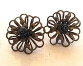 Vintage Pierced Earrings Flowers Brass Black Open Airy 80's (item 27)