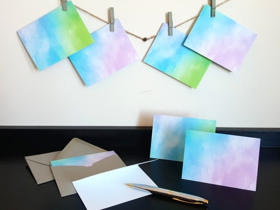 Watercolor Card Set - Watercolor Cards - 12 piece set