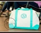 Monogrammed Weekender Bags - Personalized Duffel Bag, Reef, Mint, Black, Pink, Navy Seersucker, Bridal Party Gift, Mom Gift, Vacation Bag