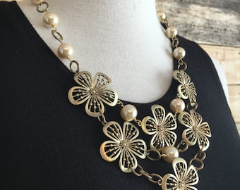 Gold Flower Bib and Pearls