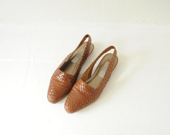 Vintage Partners Brown Woven Leather Flats, Womens 6 / ITEM186
