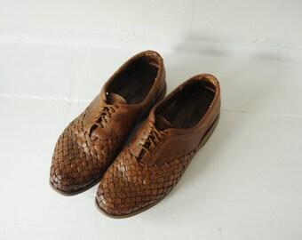 Vintage Eddie Bauer Woven Leather Oxford Shoes mens 11