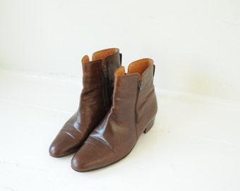 Vintage Pierre Cardin Brown Leather Beatles Boots mens 8