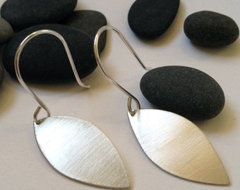 Large leaf shaped brushed silver dangle earrings - silver leaf earrings