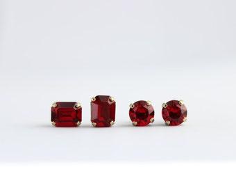 Swarovski earrings, red post earrings, red earrings, red stud earrings, small octagon earrings, saim earrings, siam post earrings, prom S01