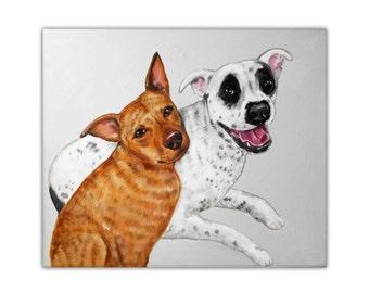 "16x20"" Custom Dog Portrait / Custom Pet Portrait - 2 Pets - Solid Background Original Acrylic Painting on Stretched Canvas Wedding Gift"