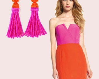Orange & Hot PINK beaded tassel Earrings with CLIP ons or sterling SILVER stud / high quality handmade beading earrings / Choose your lenght