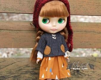 Girlish - Vintage Pocket Dress Set for Blythe doll - dress / outfit