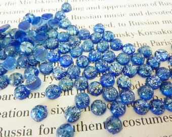 24 glass cabochons, Ø5mm, blue opal, round