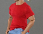 1/6th scale red XXL T-shirt for: Hot Toys TTM 20 size bigger action figures and male fashion dolls