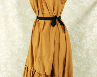 """Cap Sleeved Ragamuffin Dress in Old Gold Cotton -- Size S, Fits Bust 33""""-36"""" -- Ready to Ship"""