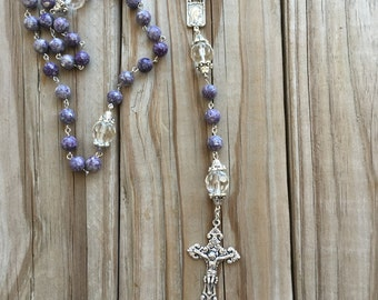 Purple Blue Natural stone Rosary, Catholic Rosary,Confirmation gift, Five Decade Rosary