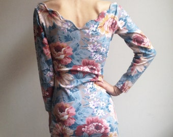 90s Floral Dress Bodycon Dress Bandage Dress Small XS