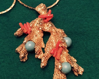 Vintage Castlecliff Coral, Turquiose, Gold  Beach-type Pendant with gold chain