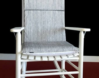 Gray Line Pattern Rocking Chair Cushion