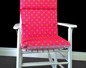Rocking Chair Cushion Cover - Pink Lime Polka Dot