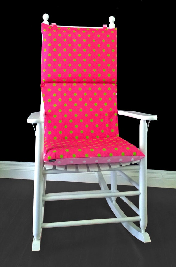 Pink Lime Polka Dot Rocking Chair Cushion