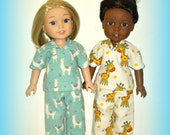 """Llama Pajamas, Handmade to fit 14.5"""" Dolls such as Wellie Wishers from American Girl, Soft Flannel PJs Top and Pants in Llama Print"""