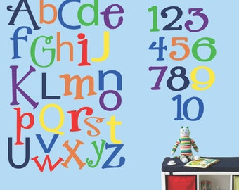 Reusable Fabric Decal Alphabet and Numbers Wall Decal 337