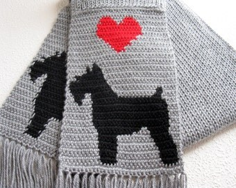 Miniature Schnauzer Scarf. Gray knit scarf with Schnauzer silhouette dogs. Knitted dog scarf.