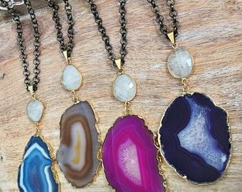 SALE Agate Geode Slice Necklace // Gold Edged, Rainbow Moonstone Accent, Gunmetal Long Chunky Chain, Blue, Brown, Pink, Purple, Mixed Metal