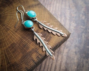 nature inspired boho earrings, amazonite & copper leafs, dangle earrings, rustic style, tribal, gemstone jewelry, gift for her, nature lover