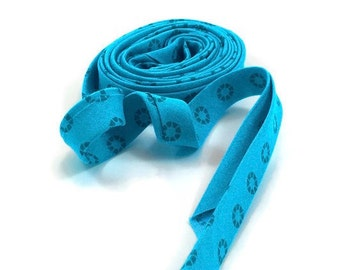 Bias Tape Double Fold Aqua Rhinestone Basic- Half Yard
