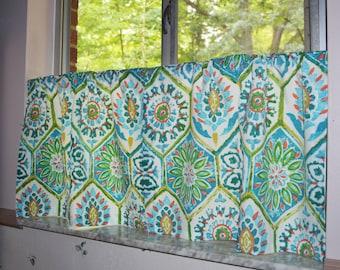 Cafe Curtains . Blue Cafe Curtains . Kitchen Tiers . Blue Tile Curtains .  Turquoise and Teal Blue Curtains . P. Kaufmann Summer Breeze