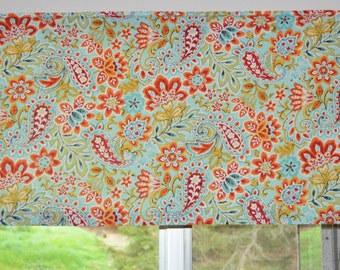 Kitchen Valance . Turquoise Paisley  . LIGHTWEIGHT Cotton . Retro Valance .  Handmade by Pretty Little Valances
