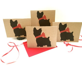 Yorkie Card Set % to ANIMAL RESCUE Yorkshire Terrier Silky ECO Friendly Pack Blank Cards Holiday Thank You Birthday Bulk Christmas Gift Wrap