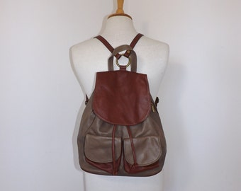 Vintage real leather back pack rucksack brown bag backpack boho medium size