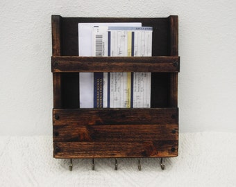 Rustic Mail Rack And Key Holder, Wall Mount Organizer, Key Rack, Rustic Wooden Mail Caddy, Letter Storage, Recipe Holder, Post Box