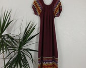 Reserved 1960s 1970s Guatemalan Woven Cotton Maxi Dress