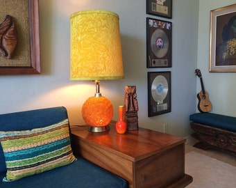 Groovy Vintage 1970s Orange Spaghetti Lamp MOD 60s 70s MCM Midcentury Mid Century Modern Hippie Desk Table Light Home Decor with Free shade